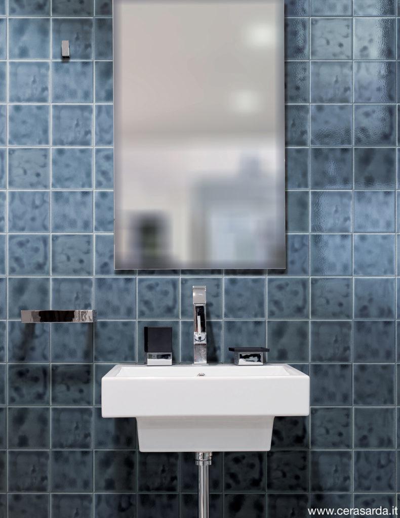 Washbasin and mirror in bathroom interior