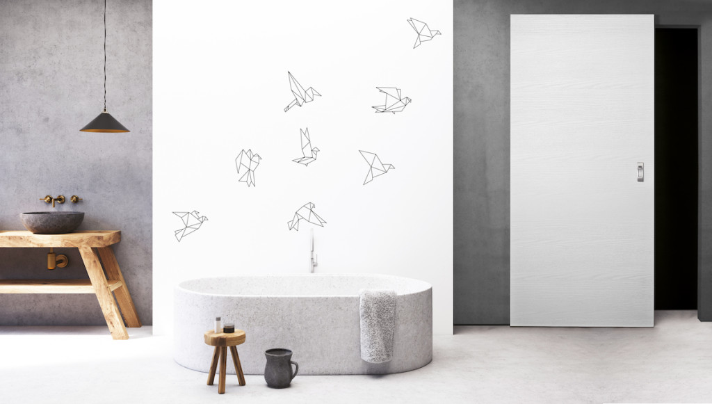 Concrete and white bathroom, round tub